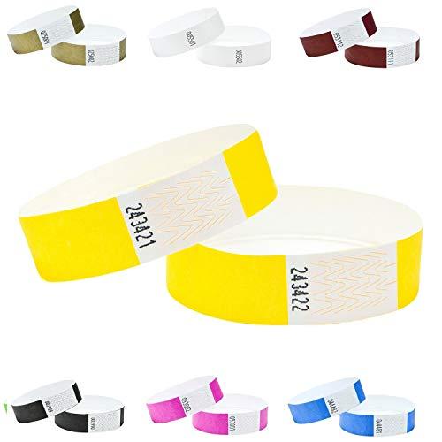 100er Pack Eintrittsbänder, Tyvek, 19mm,Farben wählen (SONNENGELB)