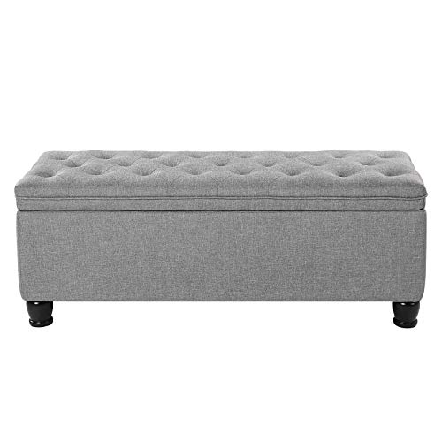 SONGMICS Storage Ottoman Bench, Linen Fabric Footstool with Foam Padded Seat, Solid Wood Legs, 46.5