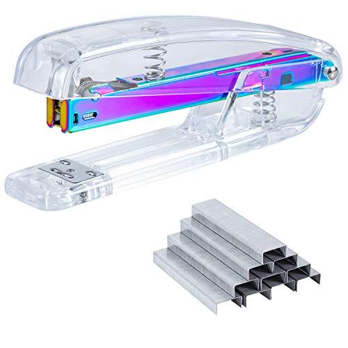 SEAKOS Dream Color Acrylic Stapler Set,Desk Stapler,Office and Home Stapler,Students Stapler,Tape Dispenser,Stapler Remover,Free 1000pcs 26/6 Staples——Multicolor Photo #5
