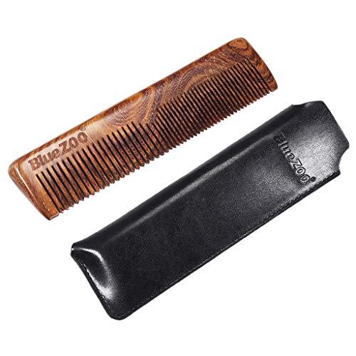 perfeclan Peigne Moustache de Poche de Dent Large et Fin Peigne en Bois avec Etui Cadeau Homme - Noir