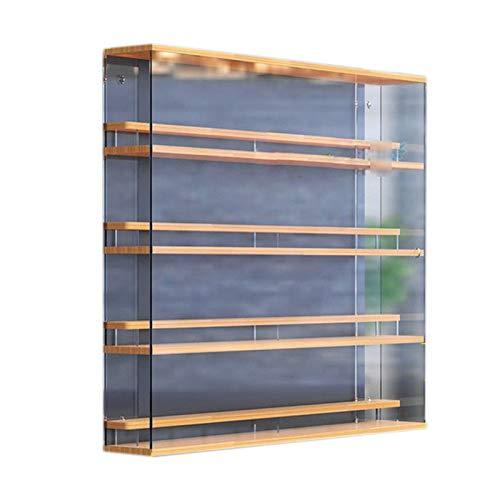 LM-Coat rack XINGLL Acrílico Vitrina Transparente, Caja Figuras Transparente con Escalones, Museo Casa para Coleccionables Juguetes Modelos Coleccionables Almacenamiento, Base De Madera