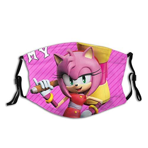 Cartoon Anime Sonic Boom-Amy Rose Face Dust Cloth Mask Windproof Reusable Face Cover Balaclava Adjustable Ear Loops