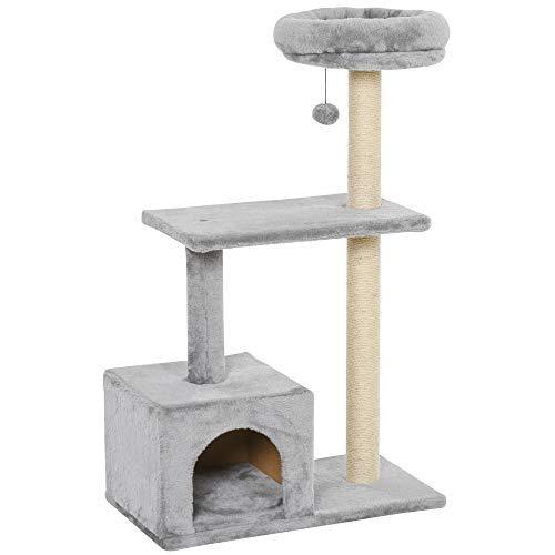 Pawhut Kratzbaum für Katzen, 96 cm, Sisal, Grau