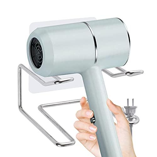 Gkwonker - Soporte para secador de pelo, acero inoxidable para el cuidado del cabello, soporte para secador de pelo montado en la...