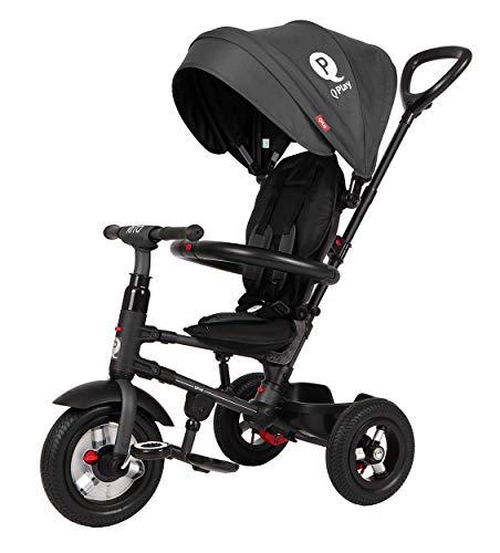 Q-Play Qualitäts Kinder Dreirad Rito AIR Deluxe Schwarz Sondermodell mit Luftreifen, klappbar
