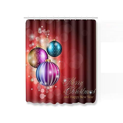 Juego Alfombras Baño Azul Imprimir Bolas De Navidad Alfombras De Baño Y Juego De Alfombrillas Cortina De Ducha 3D con Ganchos Alfombra Antideslizante Alfombra De Dormitorio Toillete-C3