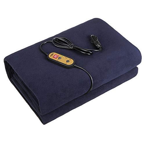 Tvird Manta con calefacción para coche, manta para coche eléctrico de 12 V, manta eléctrica de 12 V para coche universal para todos los vehículos, 150 x 110 cm (Azul marino)