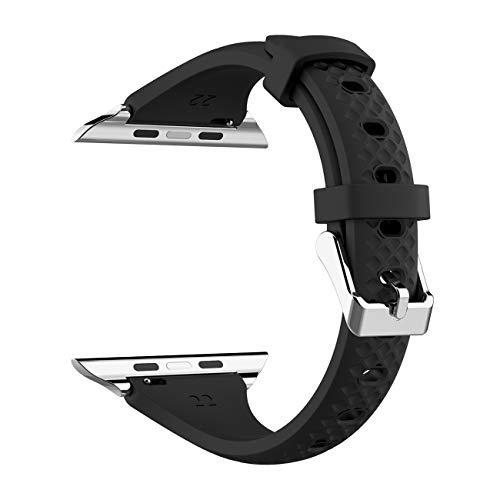 Kppto Cinturino di Ricambio Per Apple Watch da 38/40mm, Cinturino iWatch Sottile in Silicone da Donna per Serie di Apple Watch Serie4 3 2 1 Taglia S/M M/L (38/40mm, Nero D)