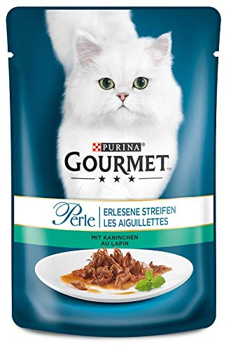PURINA GOURMET Perle Erlesene Streifen Katzenfutter nass, mit Kaninchen, 24er Pack (24 x 85g)