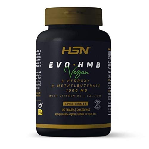 HMB de HSN Sports | Evohmb 1000 mg | Con Vitamina D | Anticatabólico, Ayuda a Ganar Masa Muscular, Recuperador, Ideal para Dieta de Definición | Vegano, Sin Gluten, Sin Lactosa, 120 tabletas