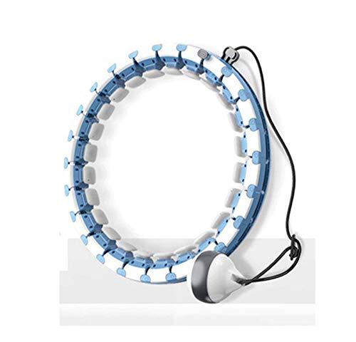 Hula hoop de fitness inteligente para adultos con bola de inercia, aro de yoga sin caerse, equipo deportivo de artefacto para perder peso con masaje, anillo de peso desmontable, equipo de (Color:azul)