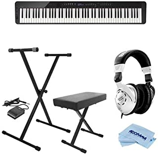 $799 » Casio PX-S3000 Privia 88-Key Slim Digital Console Piano with 700 Tones & 200 Rhythms, Black - Bundle With On-Stage KPK6520 Keyboard Stand/Bench Pack, Behringer HPS3000 HP Studio Headphones, Cloth