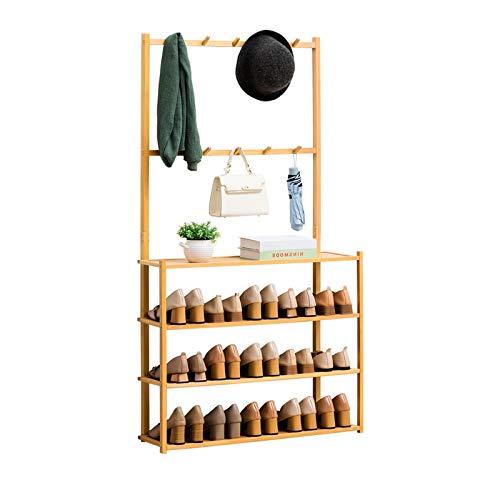 DALIZHAI2021 Estante de Zapatos con Enganche Arriba Estante de Almacenamiento de bambú Natural Multiprotone Pantalla Multiustre Plantería Estante Librería, etc. Buena Capacidad de rodamiento