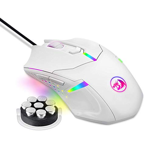Redragon M601 RGB Gaming Mouse Backlit Wired Ergonomic 7 Button Programmable Mouse Centrophorus with Macro Recording & Weight Tuning Set 7200 DPI for Windows PC (White)