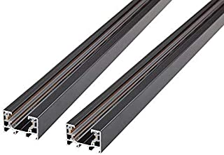 J.LUMI RAL3002 Track Rails, Linear Track Lighting Rails, Halo Track System, Single Circuit, Black Paint Finish, 3-Ft per Section (Pack of 2 Sections)