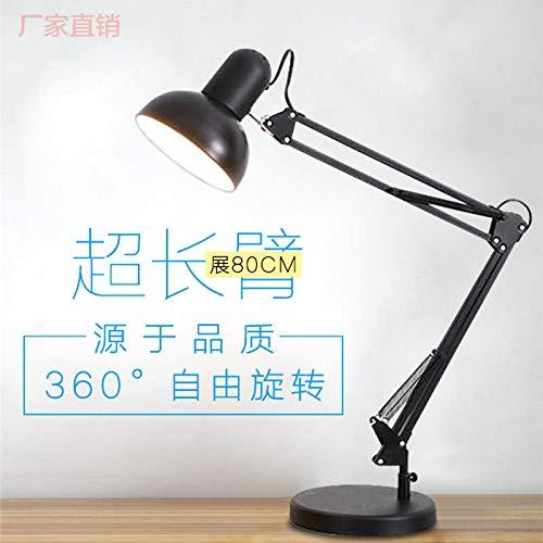 Grote afdekking oog lijn studiolamp werkkamer kantoor metaal LED super lange tafellamp smeedijzer zwart + sokkel (zonder lamp)