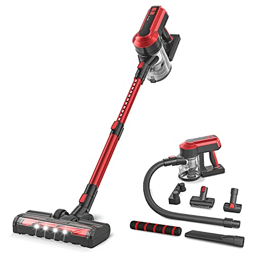 Cordless Stick Vacuum, 23Kpa Cordless Vacuum Cleaner with 300W Brushless Motor, 8-in-1 Lightweight Vacuum Cleaner, Multi-attachments, Best for Hard Floor, Carpet, Car, Pet Hair
