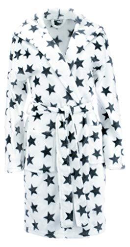 Brandsseller Brandsseller Damen Bademantel mit Sternen - in den Größen: S/M - in der Farbe: Weiß/Anthrazit