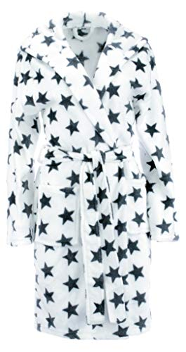 Brandsseller Damen Bademantel mit Sternen - in den Größen: L/XL - in der Farbe: Weiß/Anthrazit