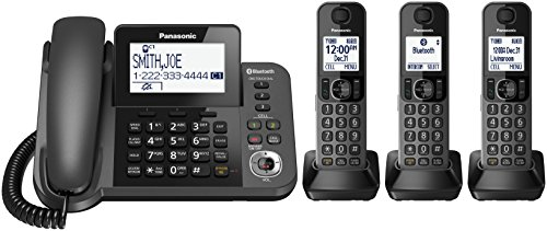 PANASONIC Corded / Cordless Phone with Link2Cell Bluetooth and Answering Machine KX-TGF383M - 3 Handsets (Black),Metallic Black