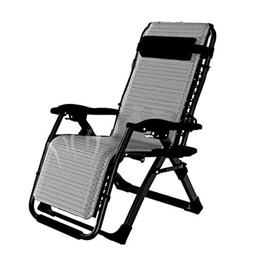 DQCHAIR Silla reclinable para exteriores, con soporte para tazas, extra ancha, ajustable, para patio, jardín, playa, piscina, con cojines, 200 kg (transpirable negro)