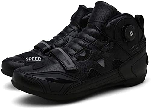 KUXUAN Calzado de Ciclismo para Hombre Offroad Racing Car Calzado de Bicicleta Protectora Carretera Motocicleta Al Aire Libre Botas de Caballero,Black-1-7UK/40EU/7.5US