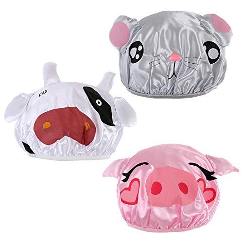 kilofly Lot de 3 bonnets de bain étanches et réutilisables pour enfants Motif animal
