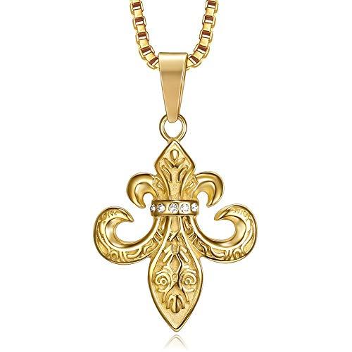 BOBIJOO JEWELRY - Anhänger Silber Fleur-de-LYS Patriot Templer Royalist Stahl-Gold Vergoldet Plattiert mit Strass-Kette