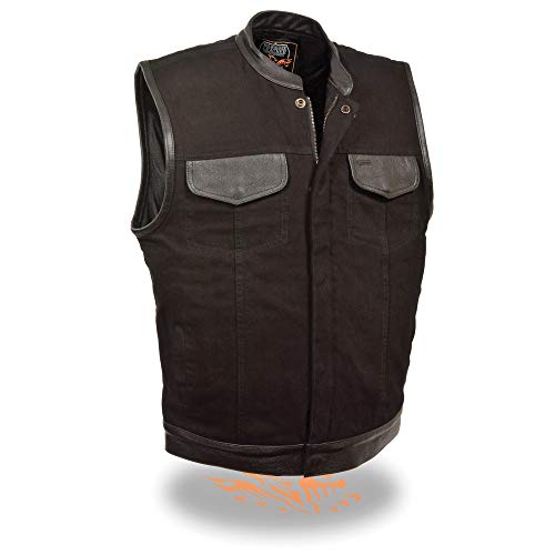 Milwaukee Performance MDM3010 Men's Black Denim Club Vest with Leather Trim and Hidden Zipper - Large