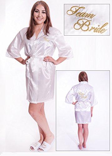 Alandra Kim Kimono, bestickt, mit Schriftzug Team Bride, Weiß/Elfenbein