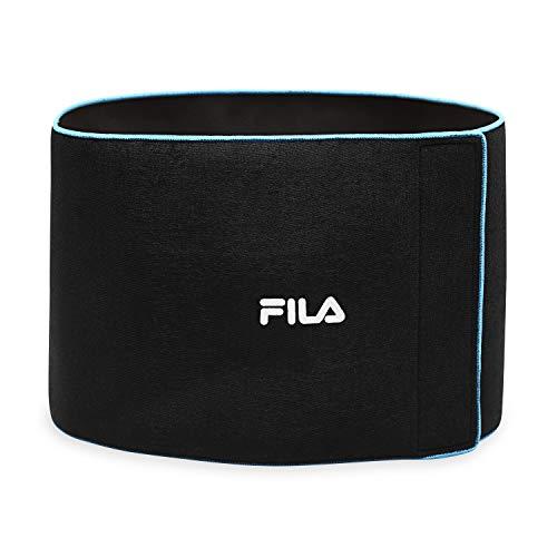 "FILA Accessories Waist Trimmer Slimming Belt for Women & Men | Neoprene Body Shaping Sweat Trainer for Stomach, Abs, Back, Waist 10"", Black/Blue"