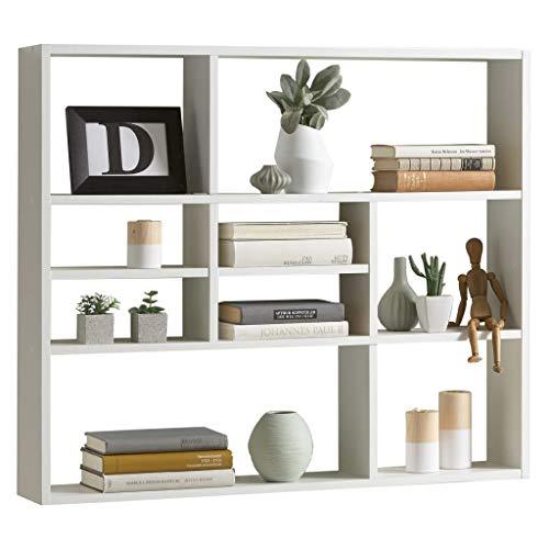 FMD furniture Wandregal, Holz, Weiß, ca. 90 x 78 x 16 cm