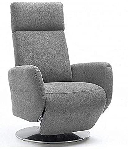Cavadore TV-Sessel Cobra mit 2 E-Motoren/ Elektrisch verstellbarer Fernsehsessel mit Fernbedienung / Relaxfunktion, Liegefunktion / Ergonomie L / Belastbar bis 130 kg / 71 x 112 x 82 / Hellgrau