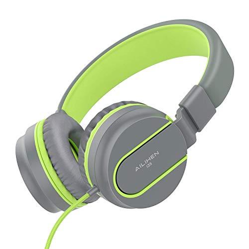 AILIHEN I35 Kid Hoofdtelefoon met Microfoon Volume Beperkte Kinderen Meisjes Jongens Tieners Lichtgewicht Opvouwbare Draagbare Wired Headsets 3.5mm voor School Vliegtuig Reizen Mobiele telefoons Tabletten Grijs Groen