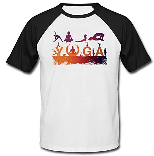 teesquare1st Men's Yoga Positions Black Short Sleeved T-Shirt Size XXLarge