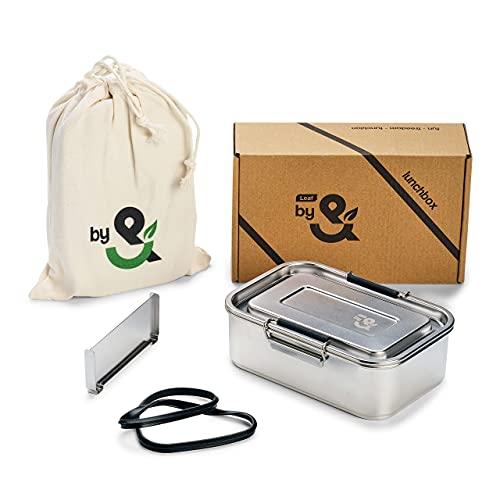 LEAFby& Premium Edelstahl Brotdose mit fächern [800ml] | GRATIS Austauschdichtung, Herausnehmbare Trennwand & Beutel | Auslaufsichere Lunchbox | Verschlussclips mit Silikonhülle | Kinder & Erwachsene