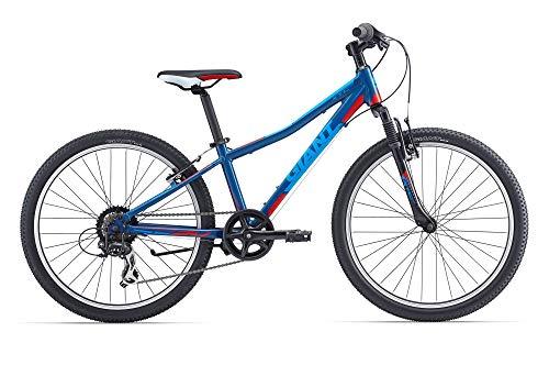 Giant - Bicicleta de montaña para niño de 24 Pulgadas, Horquilla amortiguada XTC JR 2 Tourney de 7 V, Azul y Rojo
