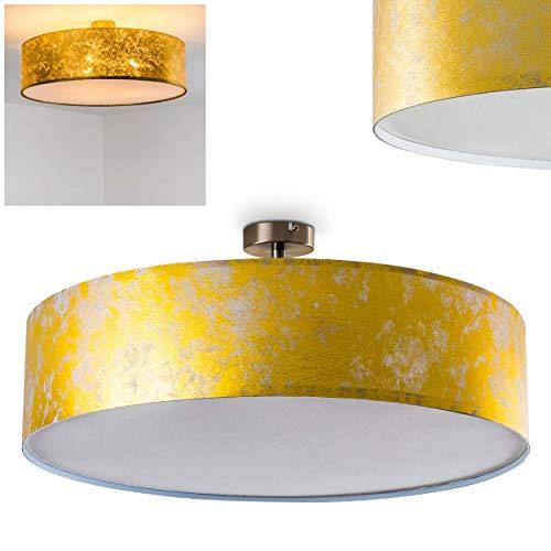 Preisvergleich Produktbild Deckenleuchte Foggia,  runde Deckenlampe mit Lampenschirm aus Stoff in Gold / Weiß,  Ø 60 cm,  LED-fähig,  3 x E27-Fassung,  40 Watt,  Retro-Design