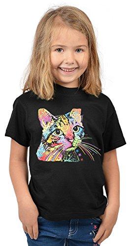 Katzen-Motiv-Mädchen-Shirt/Kinder-Shirt mit Tier-Druck: Catillac New - tolles Geschenk- Cooler Look/kräftige Farben