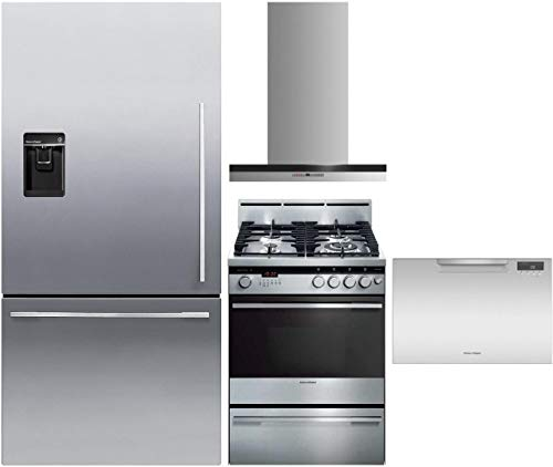 """Fisher Paykel 4 Piece Kitchen Package RF170WDLUX5 32"""" Bottom Freezer Refrigerator, OR24SDMBGX2 24"""" Gas Range, HC24DTXB2 24"""" Hood and DD24SAX9N 24"""" Full Console Drawers Dishwasher in Stainless Steel"""