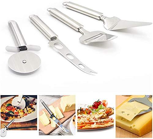 MYSY Pizzaschneiderrad, Käsemesser, Käsehobel, Kuchenserver, 4-teiliges 430 Edelstahl-Küchenmesserset Edelstahl-Käseschneider mit Mehrzweck-Käsefrucht-Gemüsemesser