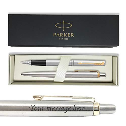 Parker Jotter Steel - Juego de bolígrafos estilográficas + grabado + caja de regalo