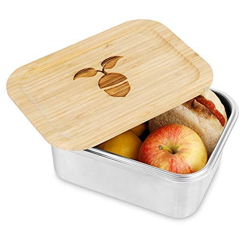 Generisch EICHELGARTEN Brotdose | Premium Edelstahl Brotdose|Brotdose mit Holzdeckel | Vesperdose | 1500ml