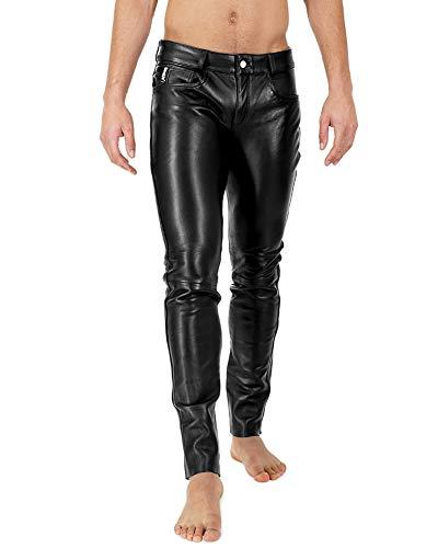 Bockle® 2021 Stretch Tube Lamb Lederhose Herren Leder Jeans Schwarz Lederhose Leder, Size: 31W / 32L