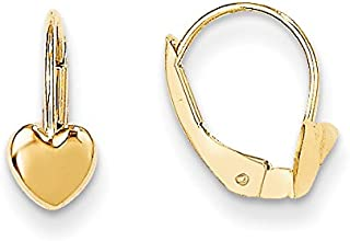 Madi K 14K Yellow Gold Heart Leverback Earrings (Approximate Measurements 12mm x 5mm)