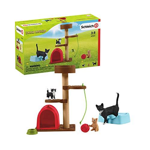 Schleich 42501 Farm World Spielset - Spielspaß für niedliche Katzen, Spielzeug ab 3 Jahren