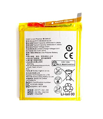 Todobarato24h Bateria Compatible con Huawei P9 / P9 Lite / P8 Lite 2017 / P10 Lite P20 Lite Y6 2018 Y7 2018 Y7 Prime 2018-3000 mAh Li-Ion hb366481ecw