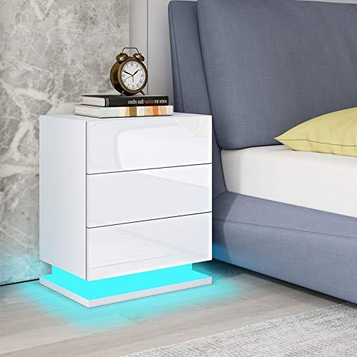 UNDRANDED Nachttisch RGB LED Beleuchtung Nachtschrank Kommode Hochglanz mit 3 Schubladen Nachtkommode Ablagetisch für Schlafzimmer Wohnzimmer 50x35x60cm (Weiß)