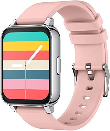 SHIJIAN Relojes inteligentes para hombres y mujeres, 1.69 pantalla táctil grande, actividad impermeable, Bluetooth fitness tracker, ritmo cardíaco reloj deportivo-rosa