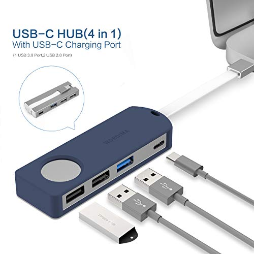 WORDIMA USB C Adapter, 4-in-1 USB C Hub Adapter with Type C Charger USB 3.0 USB 2.0 Ports for Mac Pro 2019 adapters Mac Air 2019/2018 ChromeBook and More Aluminum dongle (Blue)